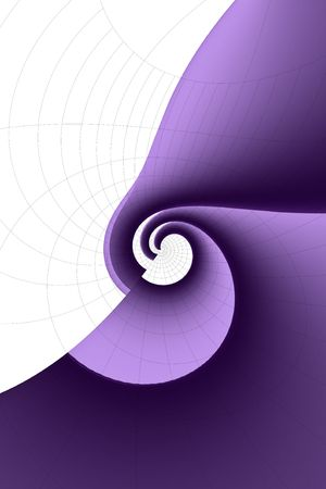 Purple and white, gradient spiral background with curving grid.