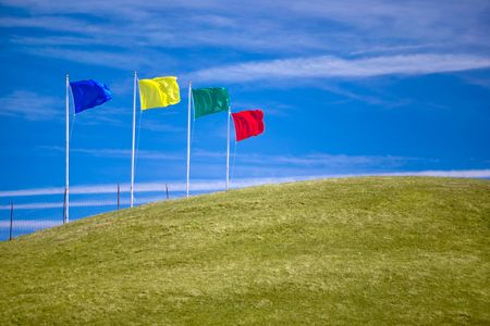 Four colorful flags on green grassy hill invite shoppers to attend an open house or other sales event.  Ample room for copy.