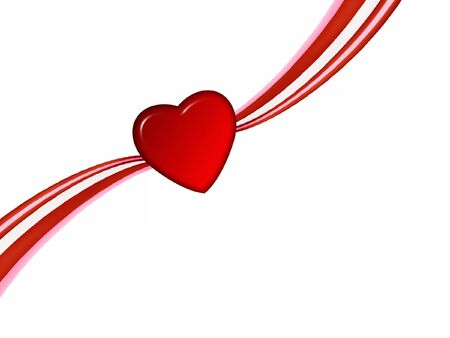 Red Heart on Ribbon Stock Photo