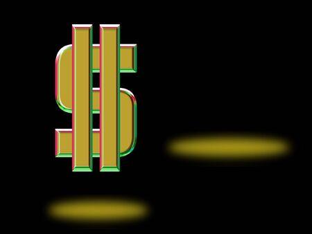 Gold Dollar Sign on Black Stok Fotoğraf