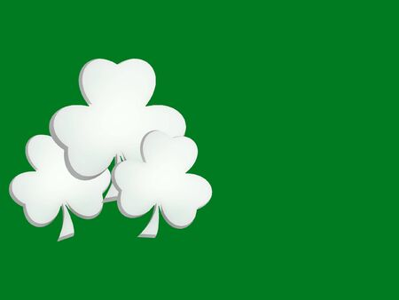 Three Lucky Shamrocks on Green Background