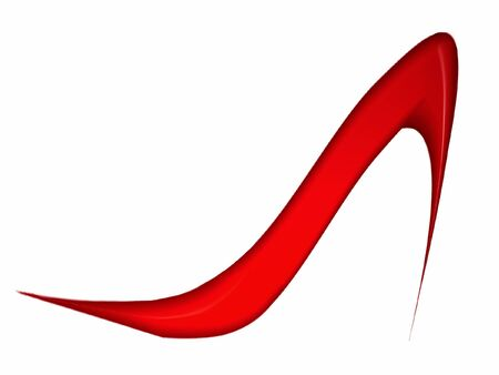 白い背景の上の赤い高かかとの靴