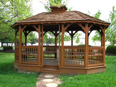 Wooden gazebo Stock Photo