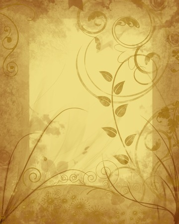 Grungy autumn floral frame on antique parchment background. Stock Photo