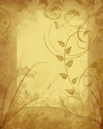 Grungy autumn floral frame on antique parchment background. Stock Photo