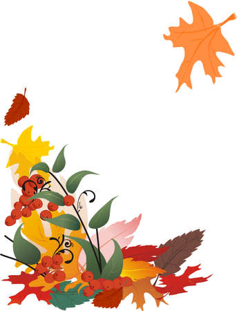 Festive illustration of falling leaves with detailed berry tree on white background.