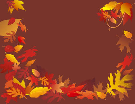 Festive fall foliage frame illustrated on solid brown background.