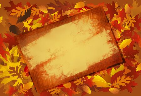 Fall leaf background with grungy aged parchment overlay for message or photo cut-out.
