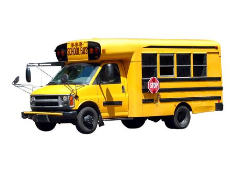 Yellow mini school bus side 34 view isolated on white background for easy clipping.  Stock Photo