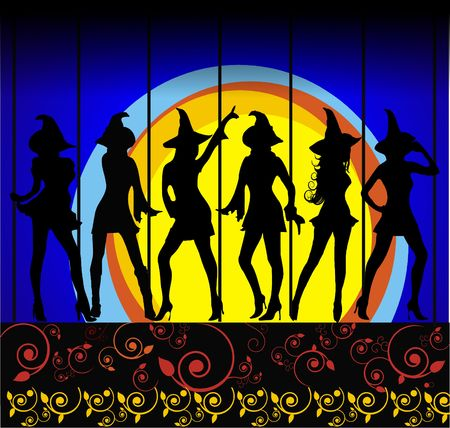 Six sexy silhouette witches dancing in the moonlight on blue background with scroll border