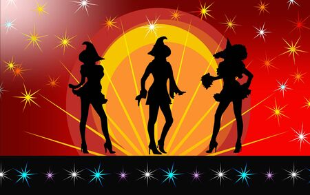 Three sexy silhouette witches dancing under the stars on a gradient orangered background with stars on border.