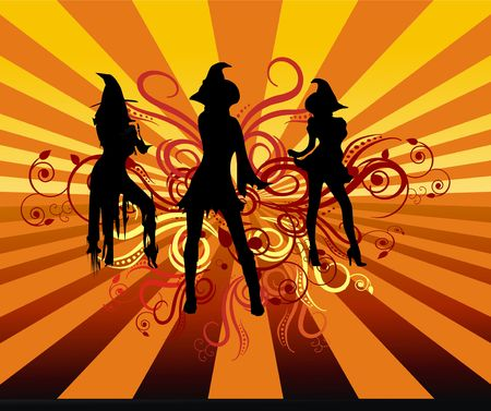 Three groovy witches dancing with 70s retro background and scrolls.