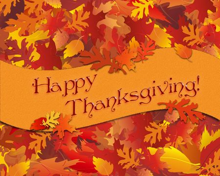 festive background: Illustration of fall foliage with Thanksgiving banner.
