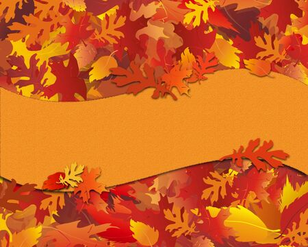 festive background: Illustration of fall foliage with blank banner for copy.
