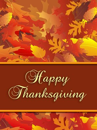 Vertical illustration of fall foliage with Thanksgiving message. Stock Photo