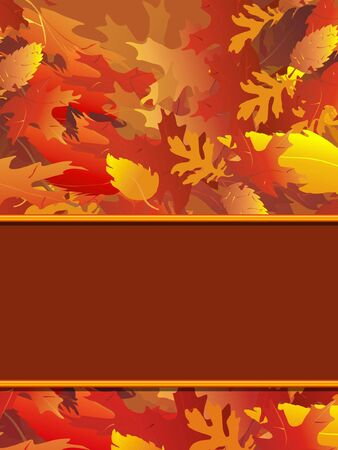 Vertical illustration of fall foliage with blank border for copy.