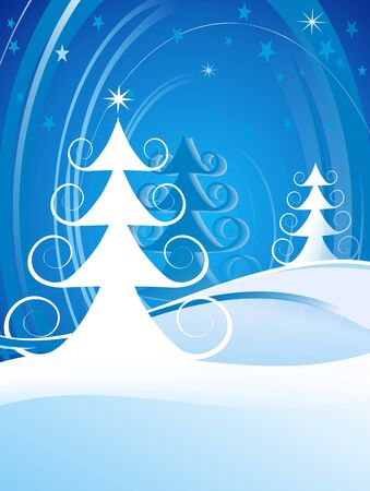 Curly Christmas trees on gradient blue background with stars. Stock Photo