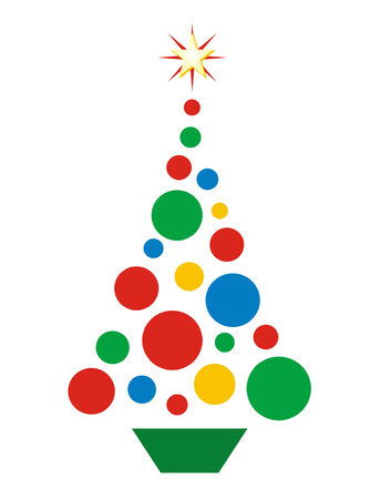 Vector illustration of Christmas tree shaped of circles.  No gradients used.