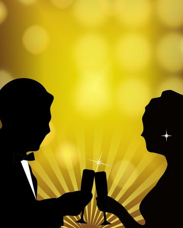 Silhouette illustration of romantic couple in formal wear celebrating a special occasion.