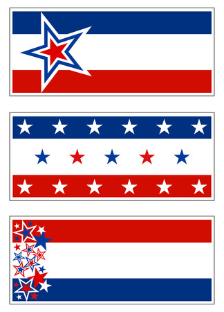 Patriotic banner decorations (USA) with stars and stripes. Grouped for banners, signs and bumper stickers. Illustration
