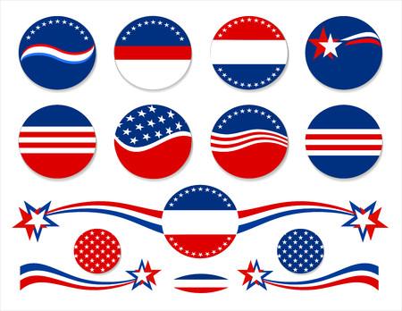 애국 빨간색 흰색과 파란색 단추 및 장식 요소.