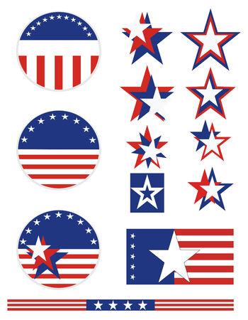 빨간색 흰색과 파란색 별과 줄무늬가있는 애국 캠페인 버튼. 모든 요소는 개별적으로 혼합하여 벡터 형식으로 일치시킬 수 있습니다. 일러스트