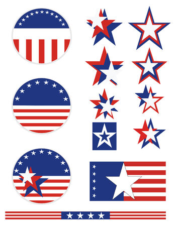 Patriotic campaign buttons with red white and blue stars and stripes. All elements can be individually mixed and matched in vector format.