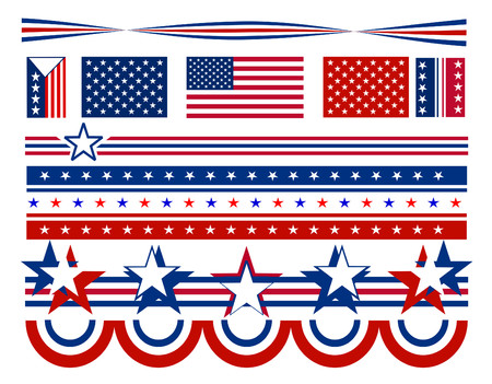 Patriotic campaign symbols and decorations with red white and blue stars and stripes. All elements can be individually mixed and matched in vector format. Иллюстрация