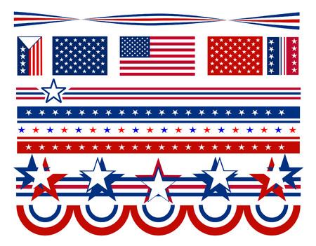voting: Patriotische Kampagne Symbole und Verzierungen mit roten und wei�en Sternen und blauen Streifen. Alle Elemente k�nnen individuell gemischt und abgestimmt auf Vektor-Format.