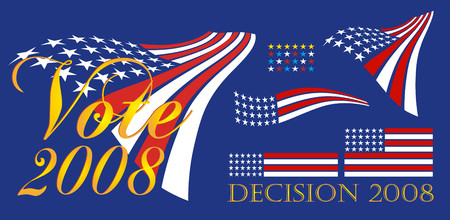 Political banner with red white and blue stars and stripes - 2008. Grouped for banners signs and bumper stickers. All elements can be individually placed in vector format.