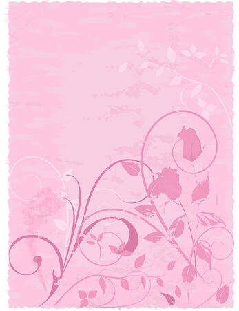 Abstract floral design with roses on textured parchment background. Note - Edges are deckled for scrapbooking.