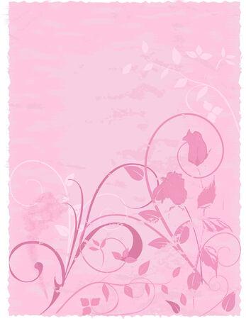 Resumen dibujo floral con rosas en pergamino con textura de fondo. Nota - Los bordes son deckled para álbum de recortes.  Foto de archivo - 2398183