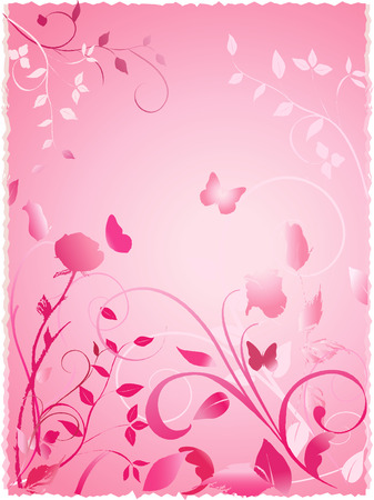 Floral design with roses butterflies and fronds on gradient pink background. Note - Edges are deckled for scrapbooking.