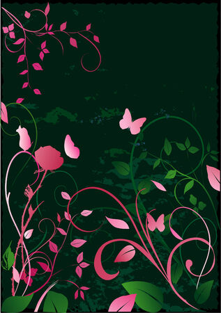 Abstract floral design on black grunged background. Vectorized image of an original painting by this artist.