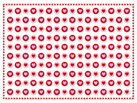 sentimental: Red and pink hearts in alternating pattern. Stock Photo