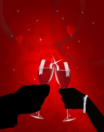 Illustration of sihoutted man and woman toasting on Valentines Day with wine glasses on red background.