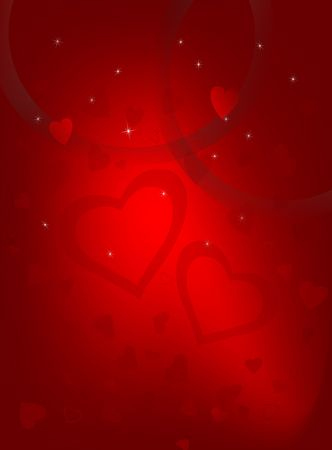 Valentine Day hearts on gradient red background.