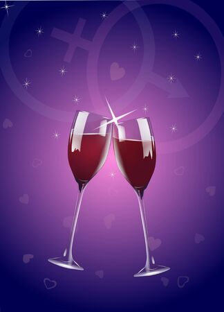 Valentine wine glasses with sparkles on gradient blue and pink background with male and female symbols. Stock Photo