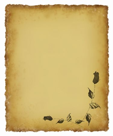 Old parchment with textured tattered edges and black rose corner design.