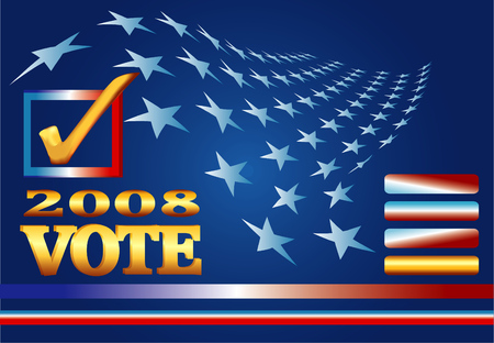 Political campaign banner with stars and patriotic web elements on blue background. Illustration