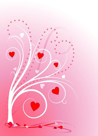 Valentines Day sweetheart tree with red hearts and pink ribbons on traditional pink gradient. Stock Photo