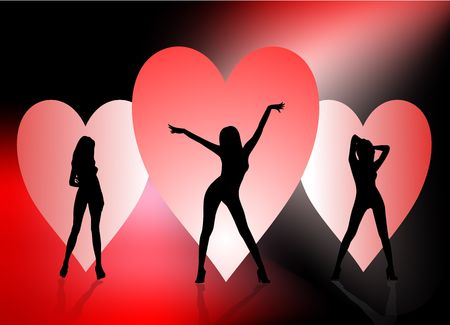 Three sexy silhouette women dancing in front of backlit hearts on black and red background. Stock Photo
