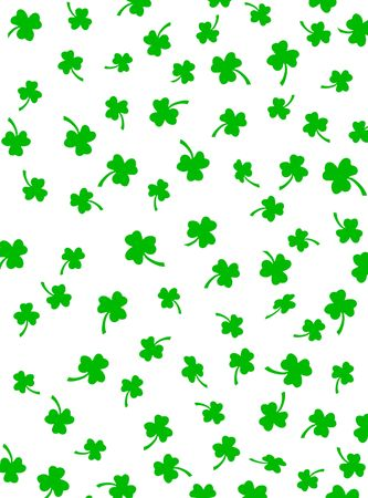 Random green shamrocks on white background. Stock Photo - 2608302