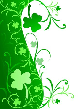 Fancy shamrock border in gradient greens on white background.