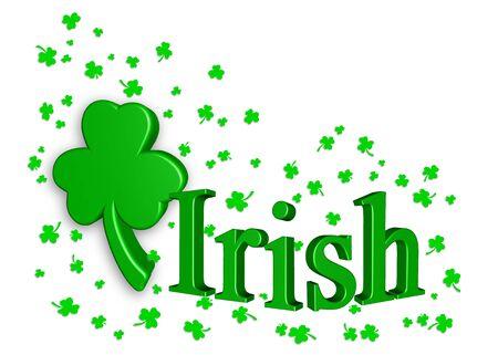 Irish shamrock beveled in faux 3-d with falling shamrock confetti on white background.