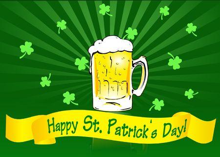 St Patricks Day banner with beer mug and shamrocks on radial gradient background.