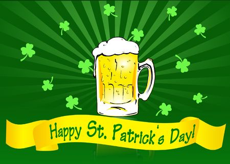 St Patricks Day banner with beer mug and shamrocks on radial gradient background.