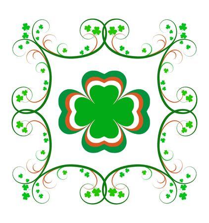 Fancy Irish frame with green and orange scrolls and shamrocks.