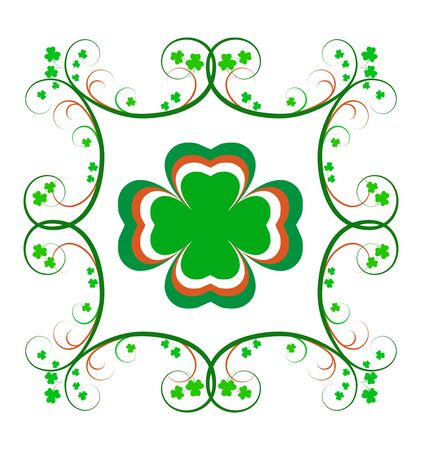 celtic background: Fancy Irish frame with green and orange scrolls and shamrocks.