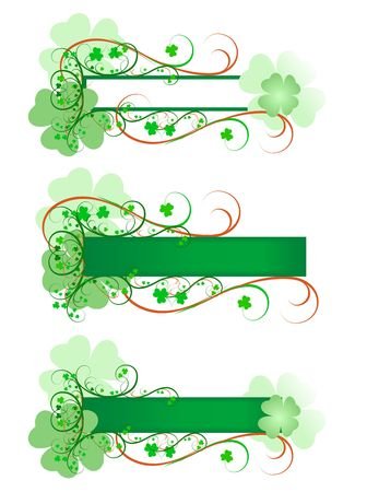 Three variations of Irish signs framed with green and orange scrolls and flourishes and decorated with shamrocks.